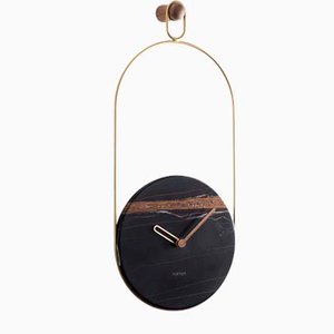 Brass & Sahara Noir Eslabon Wall Clock by Andrés Martínez for Nomon