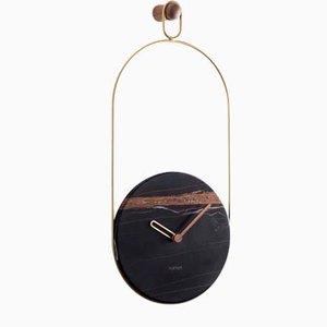 Horloge Murale Eslabon en Laiton & Sahara Noir par Andr