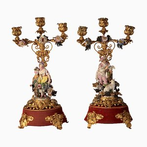 Antique Candleholders, Set of 2