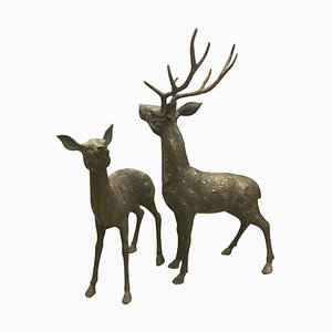 Mid-Century Modern Brass & Bronze Deer Sculptures, Set of 2