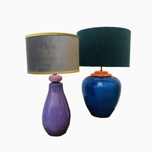 French Ceramic and Velvet Table Lamps, 1980s, Set of 2
