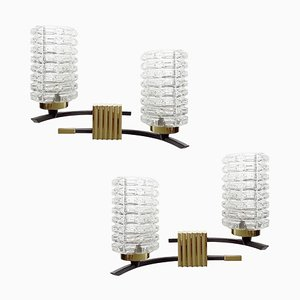Französische Mid-Century Messing & Glas Wandlampen, 1960er, 2er Set
