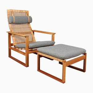 Vintage Danish Oak & Cane 2254 Sled Lounge Chair & Ottoman by Børge Mogensen