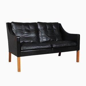 Schwarzes Vintage Modell 2208 2-Sitzer Ledersofa von Børge Mogensen für Fredericia