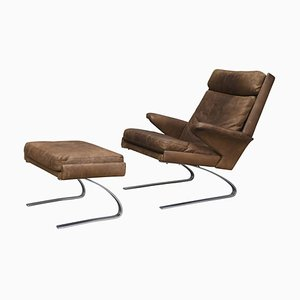 Leather Lounge Chairs by Reinhold & Hans-Jürgen Schröpfer, 1970s, Set of 2