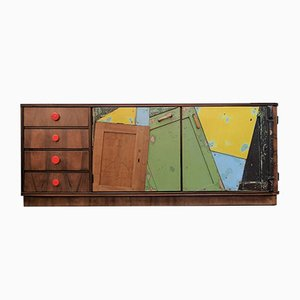 Vintage Funky Colorful Cabinet with Drawers