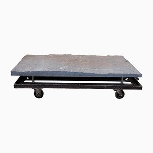 Industrial Coffee Table with Granite Top
