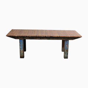 Großer Industrieller Tisch aus Nussholz