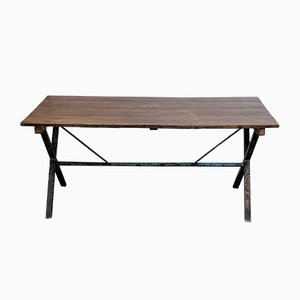 Vintage Industrial Cross-Legged Table