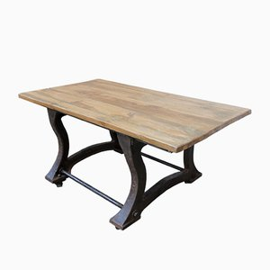 Industrial Cast Iron Table on Wheels