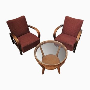 Lounge Chairs & Coffee Table by Karel Kozelka and Antonin Kropacek, Set of 3