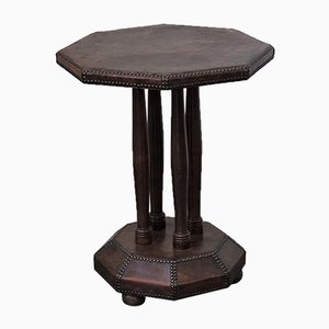 Art Deco Leather Octagonal Side Table