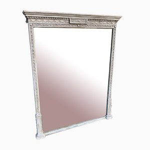 Large 19th Century English Carved Wood and Gesso Painted Overmantle Mirror.