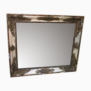 Antique French Louis Philippe Cream and Gilt Distressed Landscape or Portrait Wall Mirror