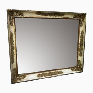 Antique French Cream and Gilt Wall Mirror