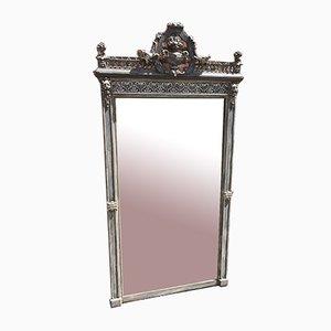 Grand Miroir 19ème Siècle en Argent et en Bois Sculpté Peint avec Gesso