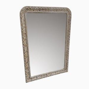 Großer antiker geschnitzter französischer Spiegel mit geschnitztem Holzrahmen und Gesso Spiegel