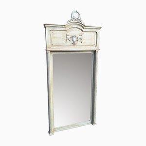 Großer Antiker Französischer Geschnitzter Holz Spiegel