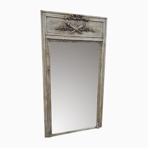 Large Antique French Carved Wood & Gesso Painted Distressed Mirror