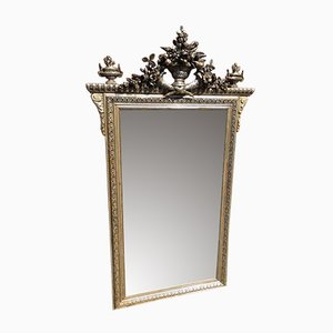 Large Antique French Carved Wood & Gesso Original Silver Gilt Mirror