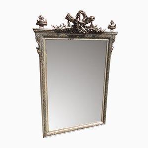 Großer Antiker Französischer Spiegel mit Geschnitztem Holz & Gesso Versilbertem Spiegel