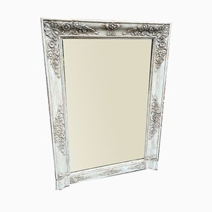 Antique Louis Philippe Wood and Gesso Painted Mirror