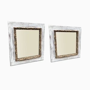 Antique French Painted & Gilt Distressed Framed Mirrors, Set of 2