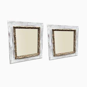 Miroirs Antiques avec Cadre Peint et Doré, France, Set de 2