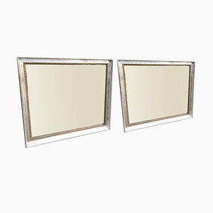 Antique French Silver & Gilt Mirrors, Set of 2