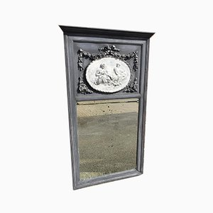 Antique French Carved Wood and Gesso Distressed Painted Mirror