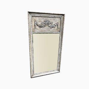 Großer bemalter antiker französischer Spiegel mit verziertem Holzrahmen und Gesso Rahmen