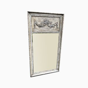 Large Antique French Highly Decorative Carved Wood and Gesso Distressed Painted Mirror