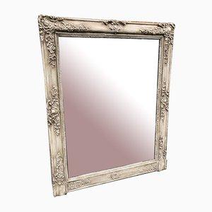 Miroir Peint Louis Philippe 19ème Siècle en Bois Sculpté et Gesso, France