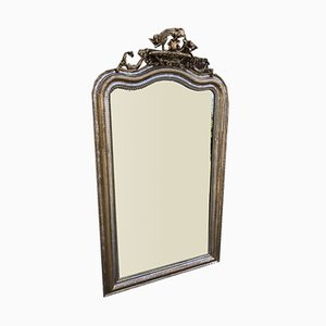 Large Antique French Carved Wood & Gesso Original Shaped Top Silvered and Gilt Mirror