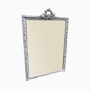 Großer Antiker Französischer Dekorativer Vergoldeter Spiegel mit Rahmen aus Geschnitztem Holz & Gesso Motiv