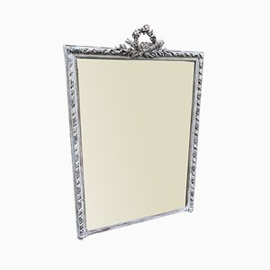 Large Antique French Decorative Carved Wood & Gesso Distressed Painted Gilt Twist Framed Mirror