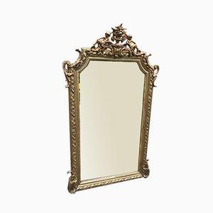 Großer antiker französischer Spiegel mit hochdekoriertem Rahmen aus geschnitztem Holz & Gesso Spiegel