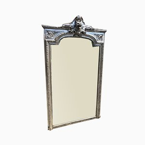 Large Antique French Carved Wood & Gesso Original Silvered Shaped Top Mirror