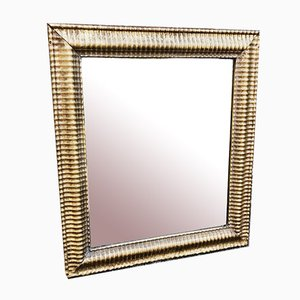 19th Century French Carved Wood & Gesso Original Gilt Ribbed Bistro Mirror