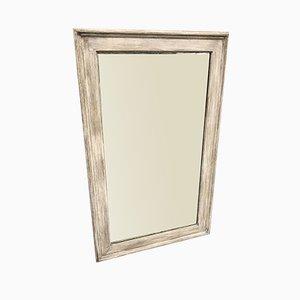 Antiker französischer Spiegel aus geschnitztem Holz & Gesso Lackiertem Ebenholz