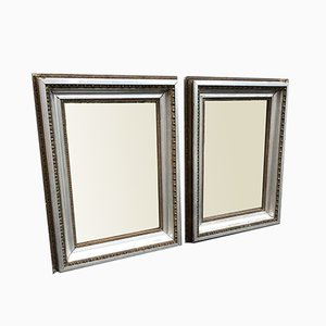 Antique French Carved Wood & Gesso Original Silver & Gilt Bistro Mirrors, Set of 2