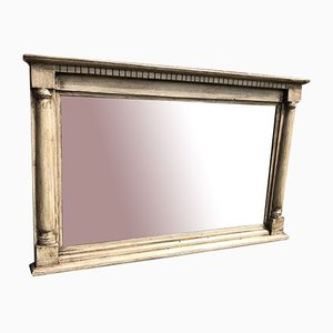 19th Century English Painted Carved Wood Overmantle Mirror