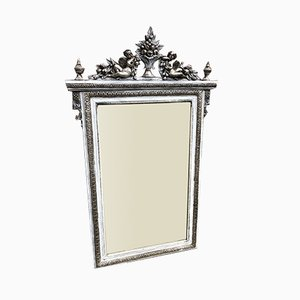 Antique French Highly Decorative Carved wood & Gesso Original Silvered and Painted Mirror