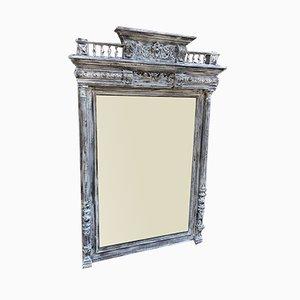 Großer bemalter Antiker Französischer Geschnitzter Holz Spiegel