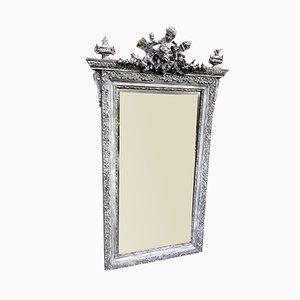 Miroir Peint Antique en Bois Sculpté et Gesso, France