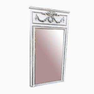 Großer Lackierter und versilberter Französischer Spiegel aus Geschnitztem Holz & Gesso, 19. Jh