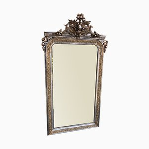 Large Antique French Carved Wood and Gesso Original Silver & Gilt Mirror