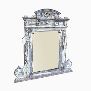 Large Antique French Highly Decorative Carved Wood Distressed Painted Mirror