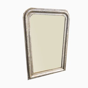 Antique French Louis Philippe Carved Wood & Gesso Original Silvered Etched Framed Arched Top Mirror