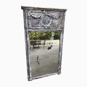 19th Century French Distressed Painted Carved Wood and Gesso Mirror